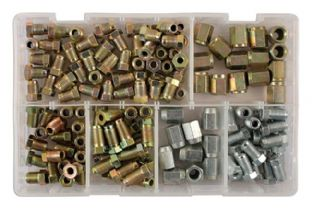 Connect 31881 135 Piece Assorted Popular Brake Nut Fittings Box